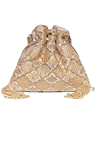 Gold Zardosi Embroidered Potli by The Pink Potli