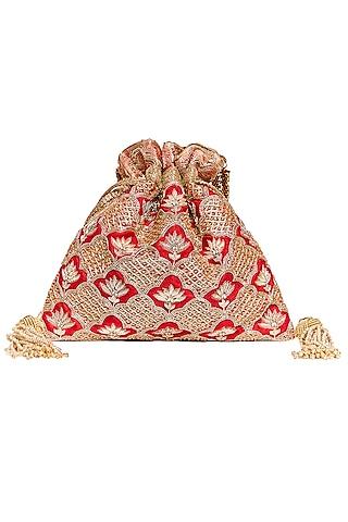 Red Zardosi Embroidered Potli by The Pink Potli