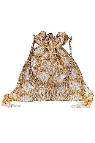 Silver & Gold Embroidered Potli by The Pink Potli
