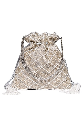 Silver Embroidered Potli With Chain by The Pink Potli