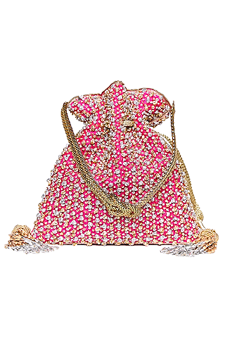 Pink Embroidered Potli With Latkans by The Pink Potli