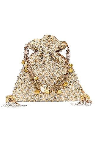 Gold Gota Patti Embroidered Potli by The Pink Potli