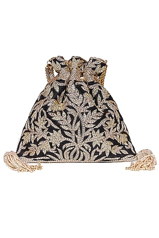 Black Sequins Embroidered Potli by The Pink Potli