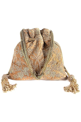 Beige Hand Embroidered Potli by The Pink Potli