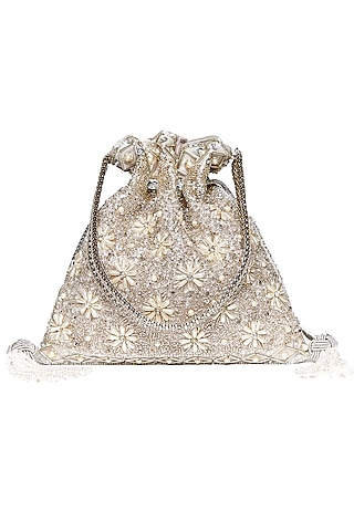 Silver Cutdana Embroidered Potli by The Pink Potli