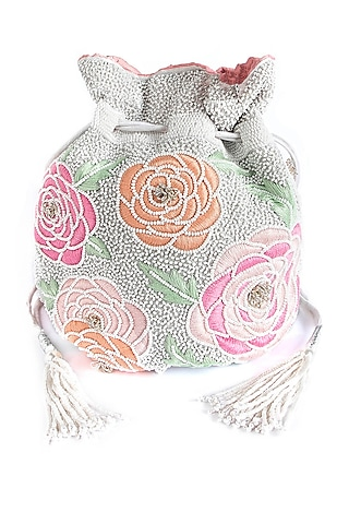 White Embroidered Bag With Pearl Chain by The Pink Potli