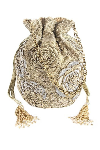Silver & Gold Embroidered Potli Bag by The Pink Potli