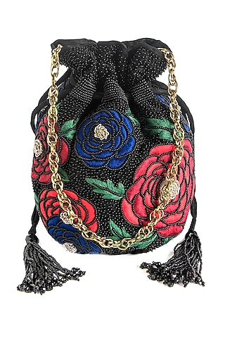 Black Embroidered Potli With Chain by The Pink Potli
