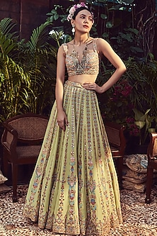 Green Georgette Embroidered Lehenga Set by Tamanna Punjabi Kapoor