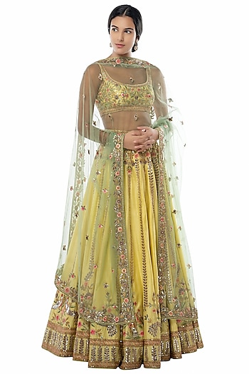 Yellow Embroidered Lehenga Set by Tamanna Punjabi Kapoor