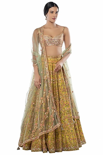 Yellow Embroidered Lehenga Set by Tamanna Punjabi Kapoor
