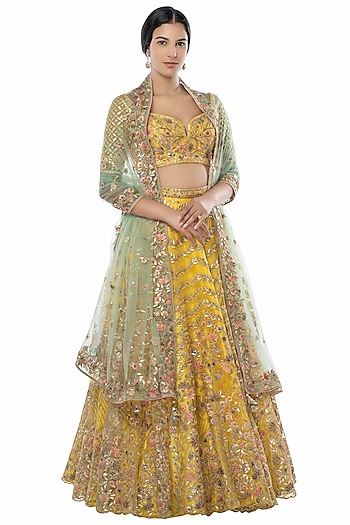 Bright Yellow Embroidered Lehenga Set by Tamanna Punjabi Kapoor