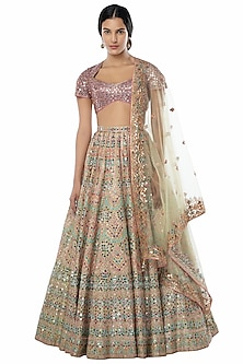 Green & Purple Embroidered Lehenga Set by Tamanna Punjabi Kapoor