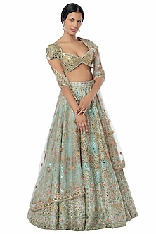 Blue Embroidered Raw Silk Lehenga Set by Tamanna Punjabi Kapoor