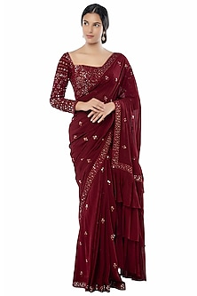 Maroon Embroidered Saree Set With Petticoat by Tamanna Punjabi Kapoor
