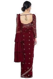 Maroon Embroidered Saree Set With Petticoat by Tamanna Punjabi Kapoor