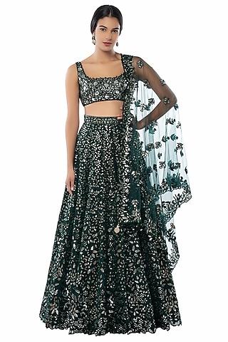 Dark Green Embroidered Lehenga Set by Tamanna Punjabi Kapoor