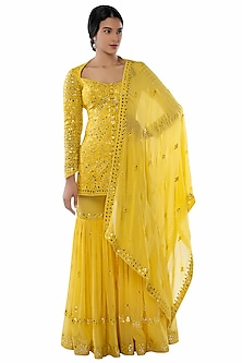 Yellow Embroidered Sharara Set by Tamanna Punjabi Kapoor