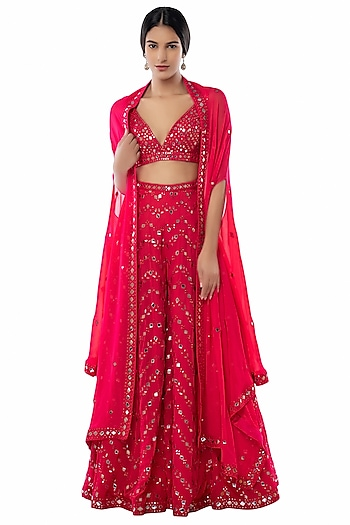 Pink Embroidered Sharara Set With Cape by Tamanna Punjabi Kapoor