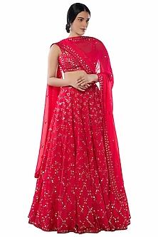 Pink Foil Embroidered Lehenga Set by Tamanna Punjabi Kapoor
