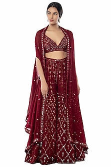 Maroon Embroidered Sharara Set With Cape by Tamanna Punjabi Kapoor