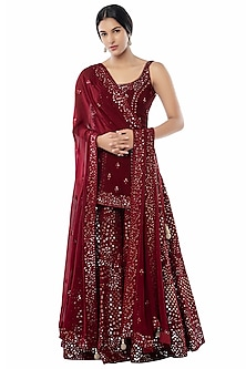 Maroon Embroidered Sharara Set by Tamanna Punjabi Kapoor
