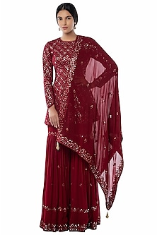 Maroon Resham Embroidered Sharara Set by Tamanna Punjabi Kapoor