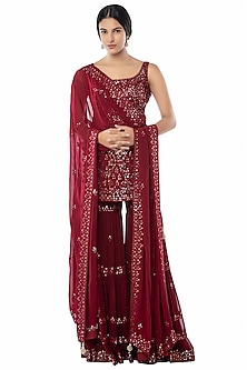 Maroon Foil Embroidered Sharara Set by Tamanna Punjabi Kapoor