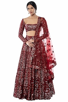 Maroon Embroidered Net Lehenga Set by Tamanna Punjabi Kapoor
