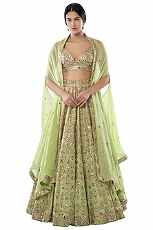 Green Embroidered Cape Lehenga Set by Tamanna Punjabi Kapoor