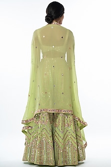 Green Embroidered Sharara Set With Cape by Tamanna Punjabi Kapoor