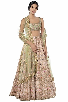 Light Pink & Green Embroidered Lehenga set by Tamanna Punjabi Kapoor