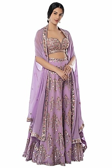 Lavender Embroidered Sharara Set With Cape by Tamanna Punjabi Kapoor