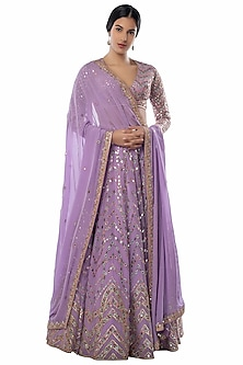 Lavender Embroidered Lehenga Set by Tamanna Punjabi Kapoor