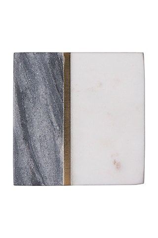 Grey & White Marble Square Coasters (Set of 4) by The Pitara Project