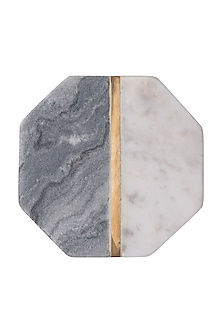 Grey & White Marble Hexagon Coasters (Set of 4) by The Pitara Project