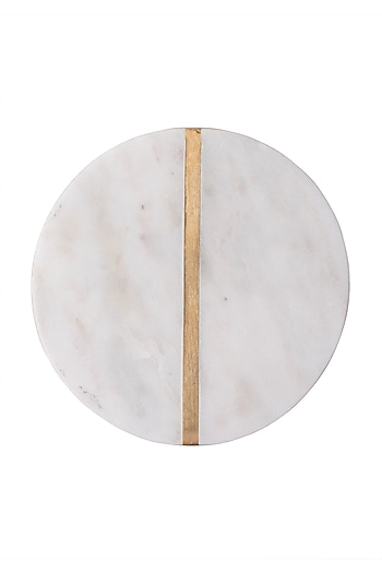 White Marble Round Coasters (Set of 4) by The Pitara Project