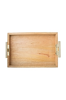 Brown Wooden Tray With T-Handles by The Pitara Project