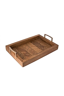 Brown Wooden Tray With Gold Line Detailing  by The Pitara Project