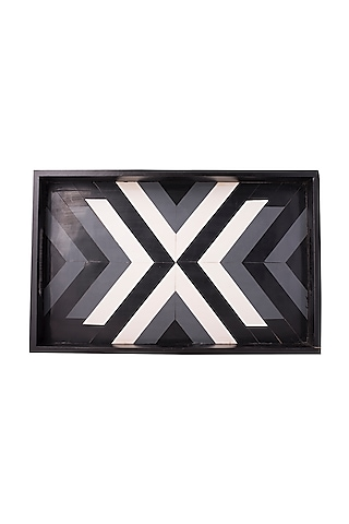 Black & White Wooden Tray by The Pitara Project