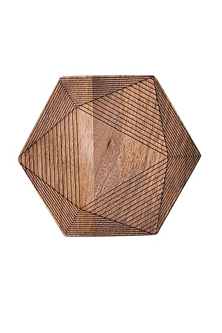Brown Wooden Trivet  (Set of 4) by The Pitara Project