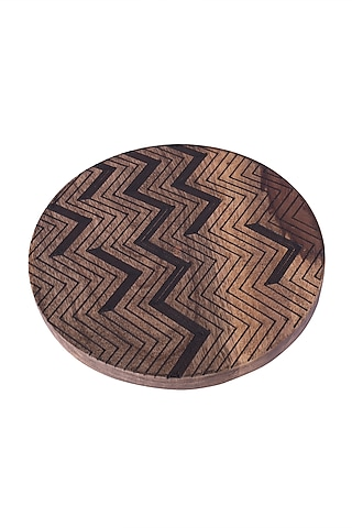 Brown Wooden Trivet With Black Zig-Zag Detailing (Set of 4) by The Pitara Project