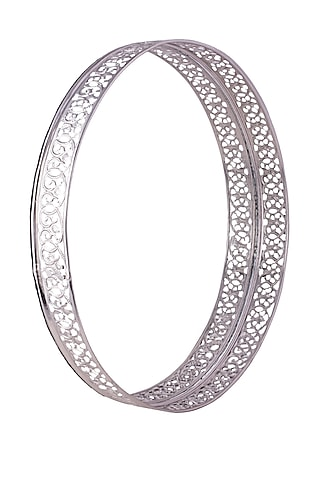 Silver Aluminium Serving Tray (Set of 2) by The Pitara Project
