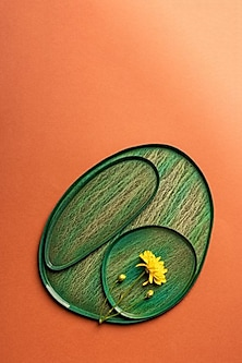 Green Textured Serving Platters (Set of 3) by The Pitara Project