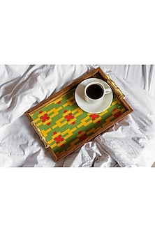 Green Watercolor Wooden Tray by The Pitara Project