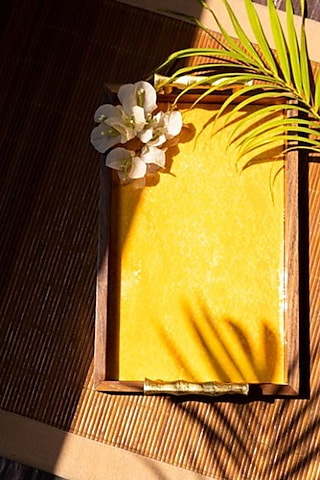 Yellow Watercolor Wooden Tray by The Pitara Project
