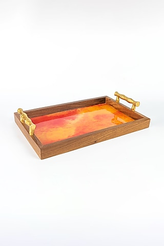 Red Watercolor Wooden Tray by The Pitara Project