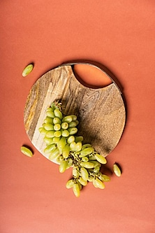 Brown Serving Platter With Gold Handle by The Pitara Project