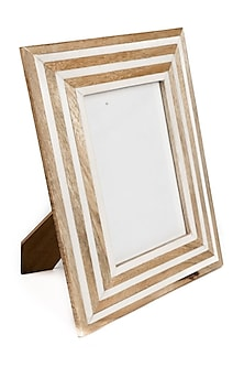 Brown & White Wooden Photo Frame by The Pitara Project