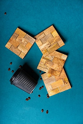 Brown Wooden Coasters With Brass Inlay by The Pitara Project